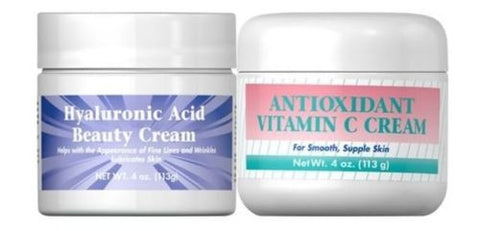 Hyaluronic Acid Vitamin C CREAM COMBO - BEST Anti-aging Deep Wrinkle Reversal
