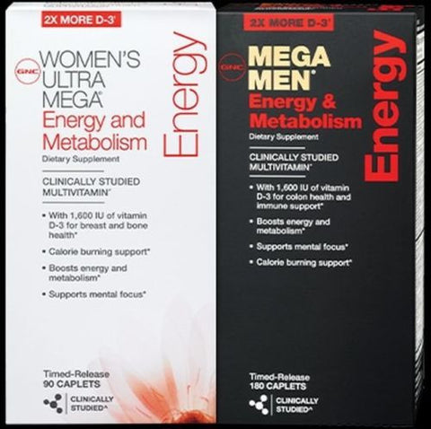 90ct GNC Mega Men / Women Energy & Metabolism Vitamins Caplets New COMBO SET