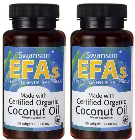2 PACK Coconut Oil Certified Organic Swanson EFA's (2 X 60) Softgels 1000 mg