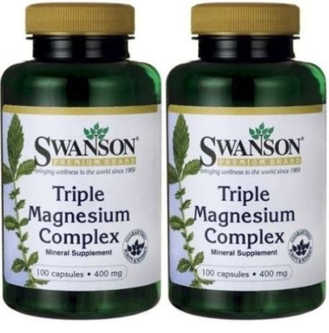 2 PACK Capsules - Swanson Triple Magnesium Complex 400 mg (100 X 2)