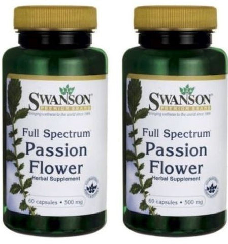 2 PACK Passion Flower 500 mg Swanson Passionflower 60 Capsules Unisex (60 X 2)