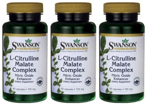 3-PACK L-Citrulline & Malate COMPLEX 750mg by Swanson  FREE SHIPPING!