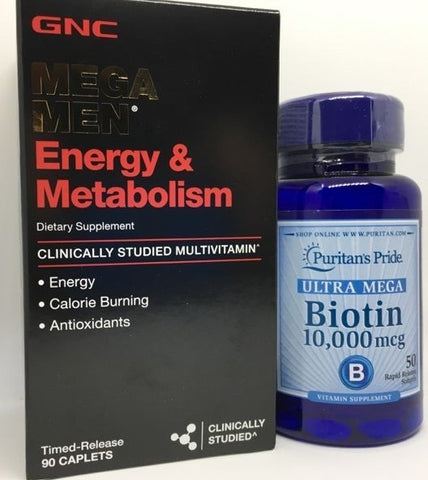 90ct GNC Mega Men Energy & Metabolism Vitamins +PLUS+ Biotin for Hair Loss Grow