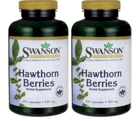 2 PACK Swanson Hawthorn Berries 565 mg (250 X 2) Capsules Heart Health