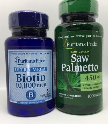 Biotin 10,000 mcg FREE Saw Palmetto Stop Hair Loss for New Hair GROWTH