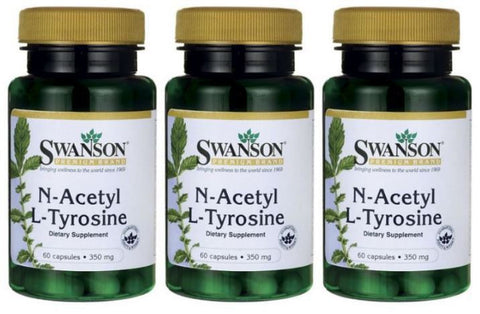 3-PACK N-Acetyl NAC L-Tyrosine 60 Caps by Swanson Powerful Amino Acids 3 X 60