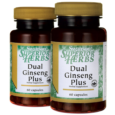 2 PACK Swanson Korean Red Panax Ginseng Root & American Ginseng Ext DUAL PLUS