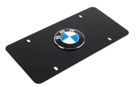 BMW Logo Marque License Plate Acrylic - HIGH GLOSS Tag Emblem - BLACK  6'' X 12'