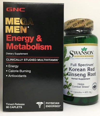 90ct GNC Mega Men Energy & Metabolism Vitamins ++PLUS++ KOREAN RED PANAX GINSENG