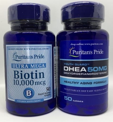 Biotin 10,000 mcg FREE DHEA Youth Pill Stop Hair Loss for New Hair GROWTH