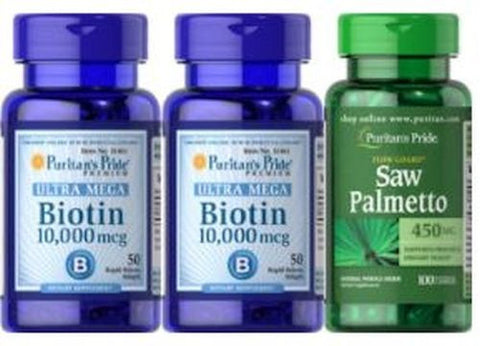 2-PACK Biotin 10,000 mcg FREE Saw Palmetto Stop Hair Loss for New Hair GROWTH