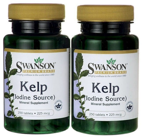 2-PACK KELP 225 mcg IODINE healthy thyroid metabolism CALCIUM (2 X 250)