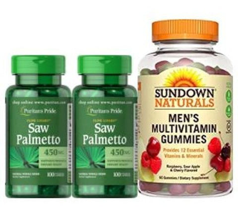 2X Saw Palmetto Puritan's Pride FREE Multivitamin Gummies Hair Loss DHT BLOCKER