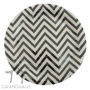 Black Chevron Round Plate