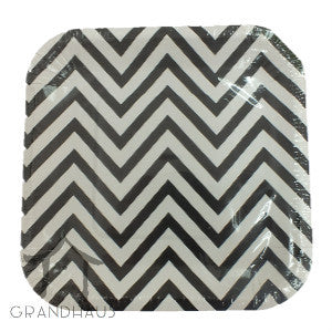 Black Chevron Square Plate