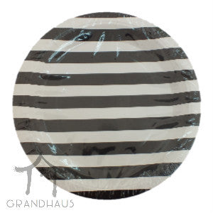 Black Stripes Round Plate