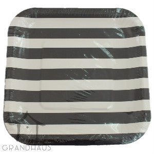 Black Stripes Square Plate