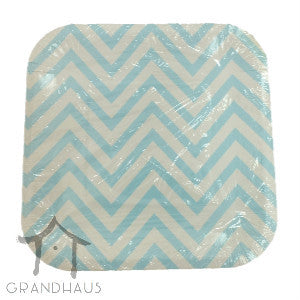Blue Chevron Square Plate