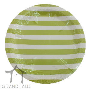 Green Stripes Round Plate
