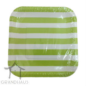 Green Stripes Square Plate