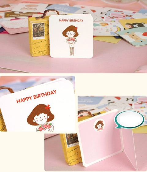 Mini Card - Happy Birthday (Girl with Red Ribbon)