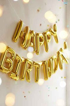 *NEW* Happy Birthday Balloon Set - Gold