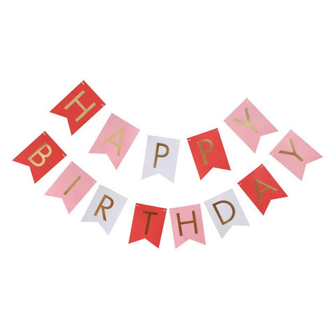 Happy Birthday Banner - Multi Pink