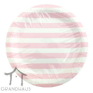 Pink Stripes Round Plate