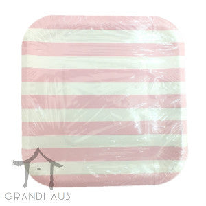 Pink Stripes Square Plate