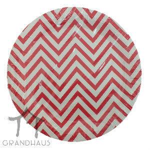 Red Chevron Round Plate