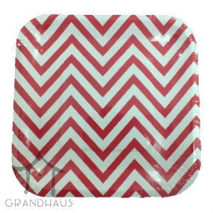 Red Chevron Square Plate