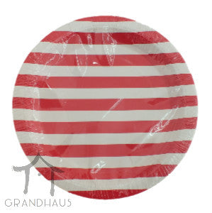 Red Stripes Round Plate