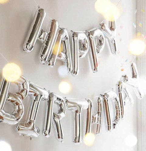 *NEW* Happy Birthday Balloon Set - Silver