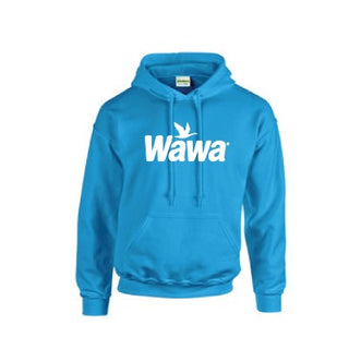 Wawa  Classic Sapphire Blue Pullover Hoodie with Wawa White Logo on front chest