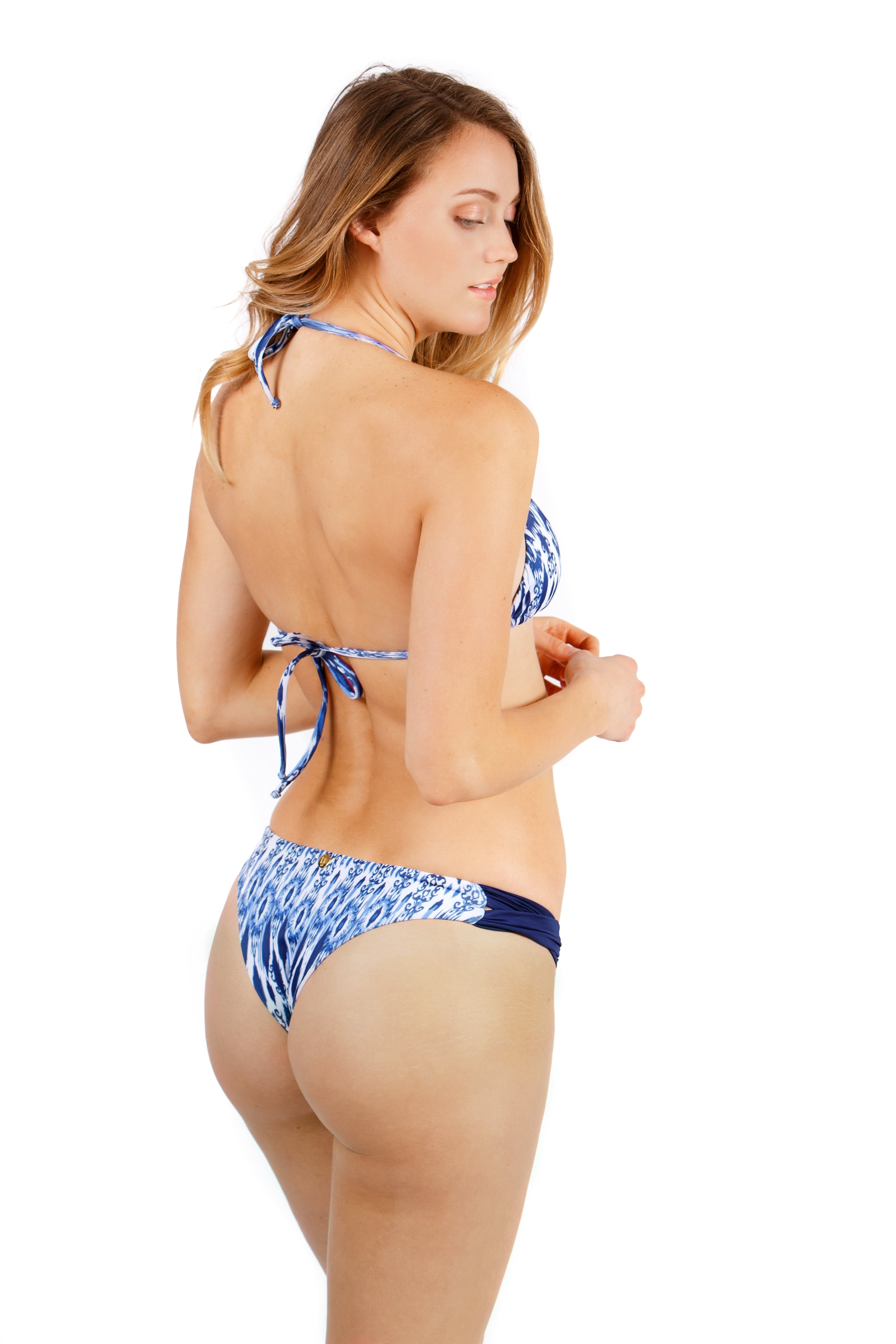 DALAI beachwear Blue Ikat  Brazilian Triangle Bikini