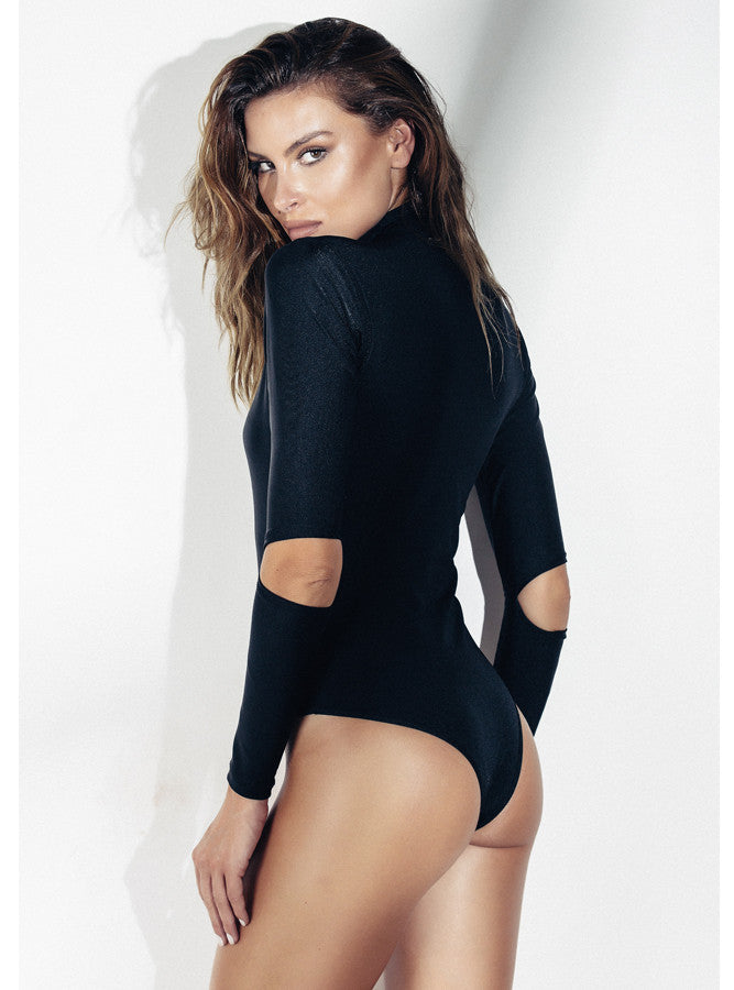 Flor De Sal Zip Cutout One Piece Neoprene Bodysuit