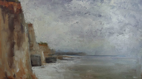 Blustery Day at Walpole Bay Margate, Kent by Anthony Giles (Oil painting on Canvas)