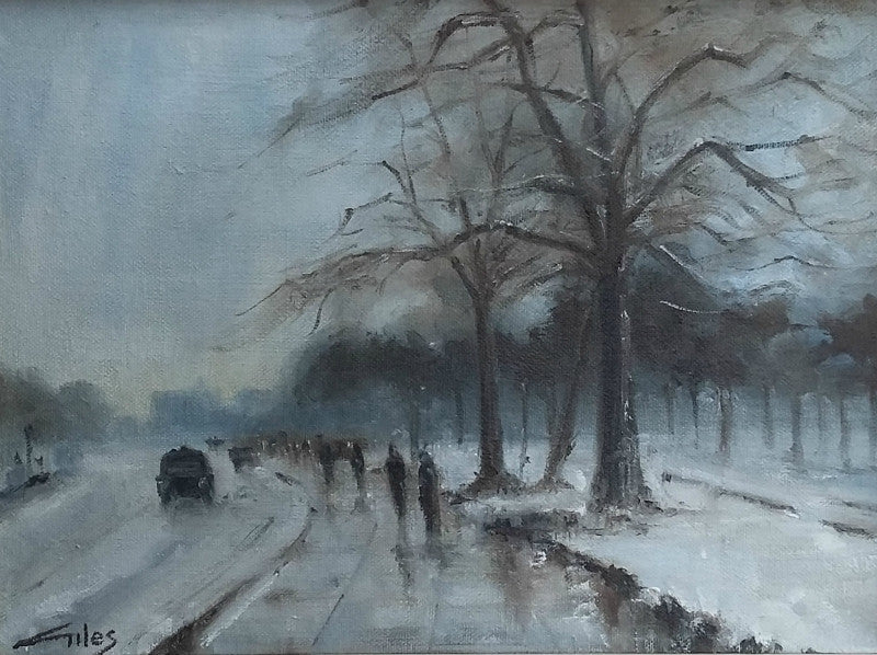 Lombard Street Gallery Margate Anthony Giles oil painting Winter Hyde Park London
