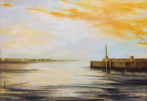 Summer Evening, Margate Harbour by Anthony Giles (Oil painting on Canvas)