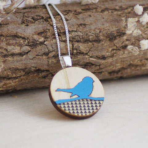Bird on a Branch Pendant by Lucy Alice