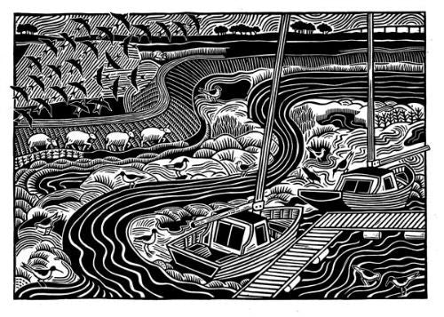 Lombard Street Gallery Margate Hugh Ribbans Conyer Creek Limited Edition Hand Printed Original Linocut