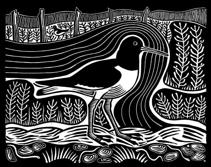 Hugh Ribbans Conyer Oyster Catcher Lombard Street Gallery Margate original linoprint