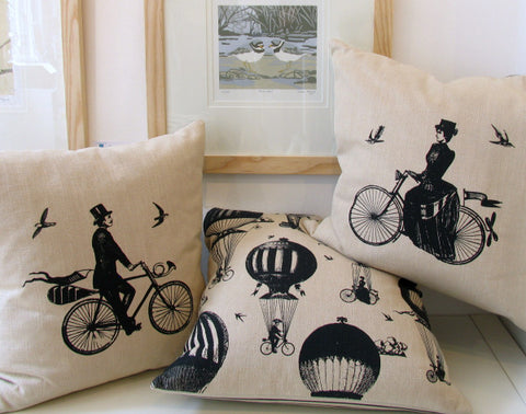 Cyclist and Balloon Cushions by Chase and Wonder