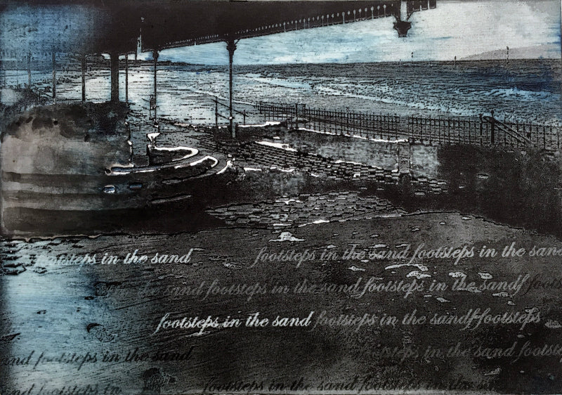 Ruth McDonald Footsteps in the sand etching Lombard Street Gallery Margate