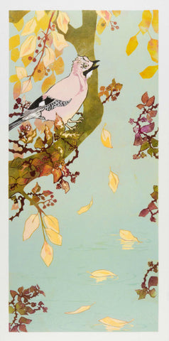 Jay, Autumn Leaves by Laura Boswell (Limited Edition Reduction Linocut Print)