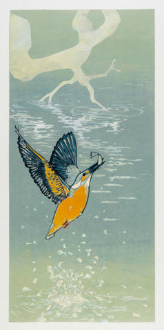Kingfisher Splash by Laura Boswell (Limited Edition Reduction Linocut Print)