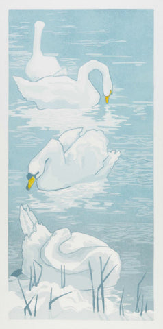 Mute Swans, Wintertime by Laura Boswell (Limited Edition Reduction Linocut Print)
