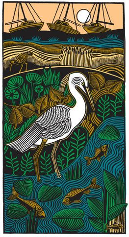 Gone Fishing (Egret) by Hugh Ribbans (Limited Edition Print)
