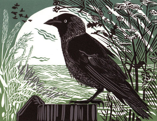 Lombard Street Gallery Margate Pam Grimmond Jackdaw Limited Edition Original Hand printed Linocut Print