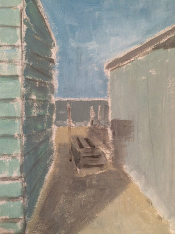 Between The Huts, East Quay, Whitstable by Nick Kelly (Acrylic on Board)